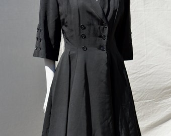 Vintage 40's WWll princess coat raincoat small full swing skirt sexy pleated by thekaliman