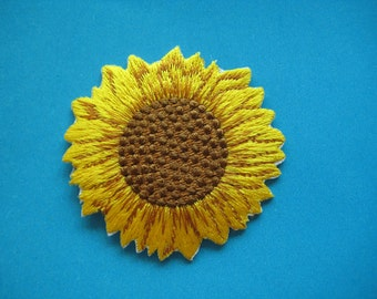 Iron-On embroidered Patch SUNFLOWER 2.5 inch