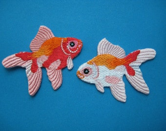 2 pcs Iron-on embroidered Patch Pair of Fansy Goldfish 2 inch