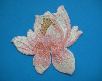 Iron-On embroidered Patch  Lotus (peach) 3.25 inch