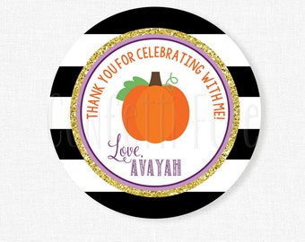 Pumpkin Tags, Pumpkin Party Favors, Fall Gift Tags, Pumpkin Birthday, Pumpkin Favor Tags Purple and Gold, Personalized