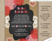 Rustic Valentine Baby Sprinkle invitations, free shipping, Valentine's Day baby shower invites, birthday party invites, personalized 3646