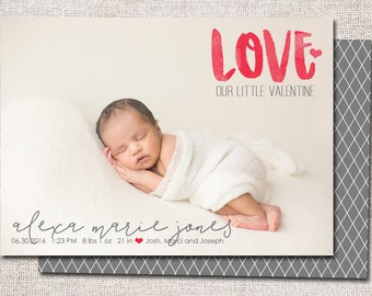 Valentine Birth announcement, baby boy announcement, baby girl announcement, baby announcement, printable (Love)
