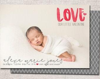 Valentine Birth announcement, baby boy announcement, baby girl announcement, baby announcement, printable (Love)