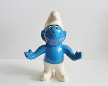 BLOWOUT 40% off sale Vintage 70s Ceramic Blue Smurf Small Statue - Handmade Figure - RARE