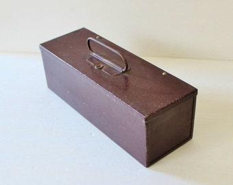30% off sale // Vintage Heavy Brown Steel Metal Lock Box with Yale and Towne Key - man gift, dad, fathers day