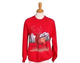 30% off sale // Vintage 80s BUCK Red Deer Sweatshirt - Men M Women L
