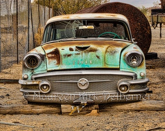 Old 1955 Buick Special/ grill front bumper photograph photo/ vintage classic green rust/ rustic/ southwestern decor/ FastWinn Photography