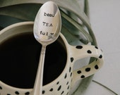 BeauTEAful -  Hand Stamped Vintage Spoon for TEA LOVERS - jessicaNdesigns Original