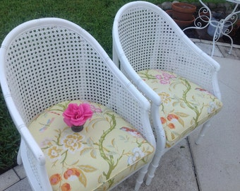 Pair of FAUX BAMBOO BARREL Cane Chairs / Pair of Barrel Chairs Hollywood Regency Palm Beach Cottage Style at Retro Daisy Girl