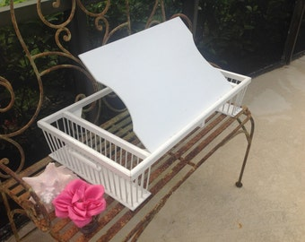 Vintage Chippy White Breakfast Adjustable Tray Shabby Chic Cottage Style at Retro Daisy Girl