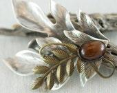 Vintage Sterling Silver Brass Brown Cabochon Autumnal Etched Leaf Brooch  .....5090