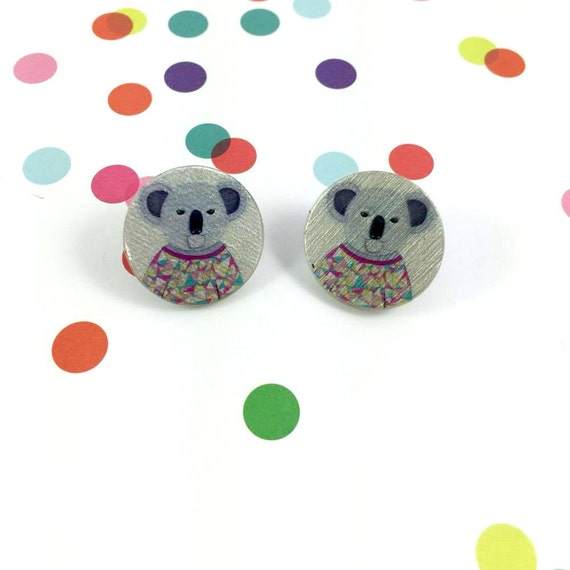 Small, resin, mold, koala, sweather, winter, grey, earrings, stainless stud, handmade, les perles rares