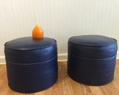 Sale! NAVY BLUE OTTOMAN, One Remaining!  Mid Century Modern, Vinyl Foot Stools Blue at Modern Logic