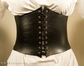 Alisea Corset Belt with strings in genuine leather and elastic band, different colors available