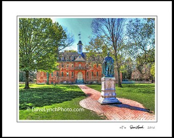 William and Mary College Campus - Wren Building - circa 1695 - Williamsburg VA Virginia - by Richmond VA Photographer Dave Lynch