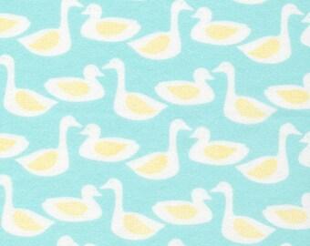 Organic FLANNEL Fabric - Cloud9 Flannel - Ducks Turquoise