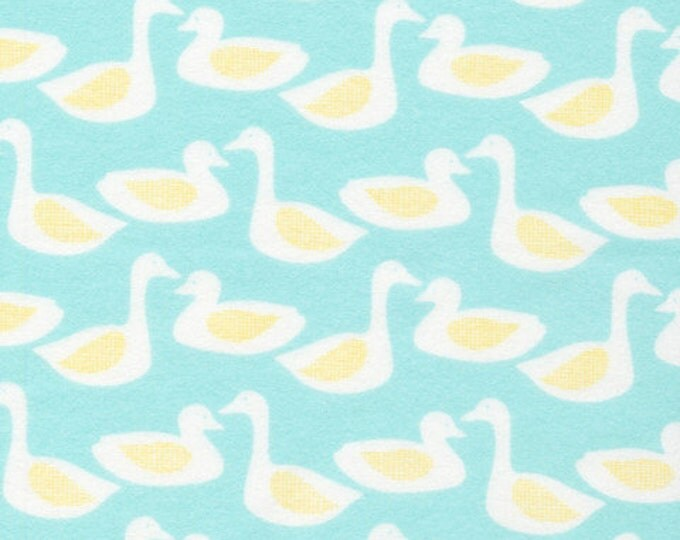 Organic FLANNEL Fabric - Cloud9 Flannel - Ducks Turquoise