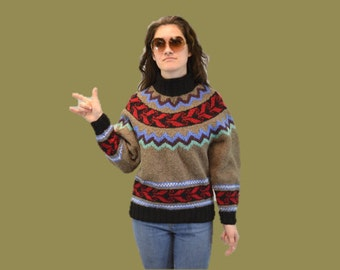 Boho ethnic wool Sweater ethnic fair isle pullover Vintage 1970s Banana Repulic Medium turtleneck winter IngridIceland