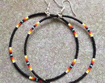 Native American style Black Beaded Hoop Earrings