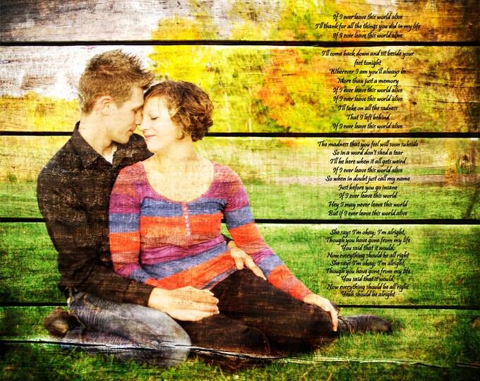 Wood Print REAL WOOD 5th Anniversary Rustic Gift Wedding Decoration or Wedding Anniversary Gift 16x20