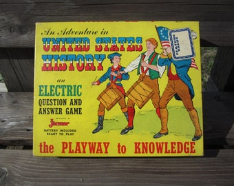 Vintage Electric Jacmar United States History Q&A Game from 1950's ... working condition with bulb lighting with correct answers