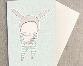 "Greeting Card - Baby  Bunny Cuddles - Green - Gender Neutral,   C6 greeting card 11w x 15.5 h cm (4.4x6.1"")."
