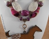 Cowgirl Necklace Set - Chunky Purple Agate and White Howlite Turquoise - Appaloosa Horse Pendant