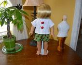 18 Inch Doll Sleepwear Cotton Ladybug Print Boxer Shorts and White Short Sleeve Tshirt by SEWSWEETDAISY