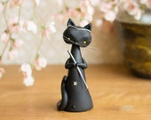 Le Matagot - Magician Cat - Magic Black Cat Figurine by Bonjour Poupette