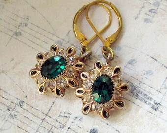 Emerald Stars, Vintage Emerald Green  Rhinestone Upcycled Vintage Earrings by Hollywood Hillbilly