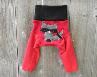 NB Upcycled Wool  Longies Soaker Cover Diaper Cover With Added Doubler Black/ Red With Sneaky Raccoon Applique NEWBORN 0-3M