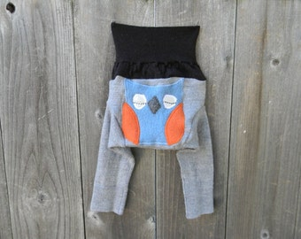 NB Upcycled Wool Longies Soaker Cover Diaper Cover With Added Doubler Brown /Gray With Owl Applique NEWBORN 0-3M Kidsgogreen