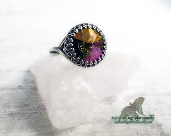 Celestial Magic Enchanted Rings Series -- STARDUST -- Aged Silver Adjustable ring with Swarovski crystal