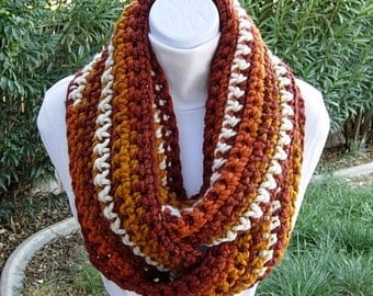 Autumn Colors INFINITY SCARF Loop Cowl, Dark & Bright Burnt Orange, Gold Yellow, Off-White Cream, Soft Bulky Wool Blend, Fall, Ready to Ship