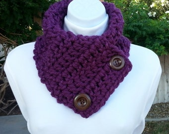 Dark Solid Purple NECK WARMER SCARF Buttoned Cowl, Large Wood Buttons, Extra Soft Acrylic Handmade Crochet Knit..Ready to Ship in 2 Days