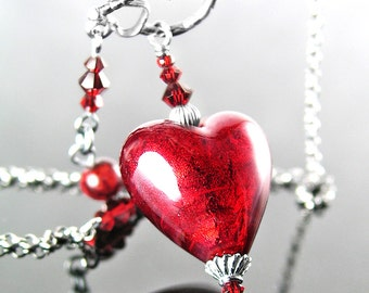Red Murano Glass Heart Necklace Antique Sterling Silver Necklace Venetian Glass Ruby Red Heart Pendant Necklace Valentine's Day Jewelry