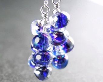 Cobalt Blue Drop Earrings Sterling Silver Hook Earrings Handmade Artisan Lampwork Blue Glass Earrings Cluster Dangle Earrings Boro Jewelry
