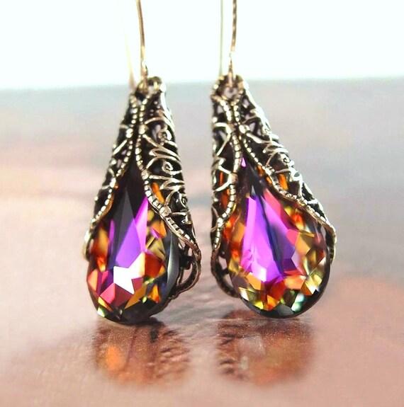 Amber Purple Earrings RARE Swarovski Crystal Earrings Antique Gold Brass Earrings Colorful Plum Red Purple Drop Earrings Victorian Jewelry