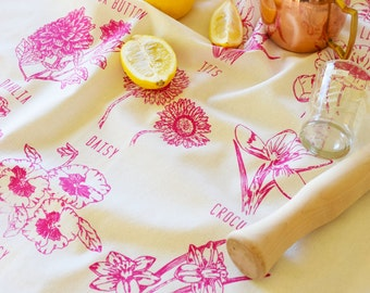 Tea Towel - Kitchen Towels - Screen Printed Flour Sack Towel - Tea Towel Set - Tea Towel Flour Sack - Dish Towels - Garden Flowers - Floral