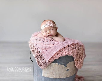 Pink Homespun Newborn Baby Blanket Throw