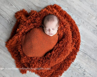 Rust Orange Curly Faux Fur Photography Prop Rug Newborn Baby Toddler 27x30