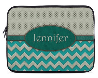 Personalized tablet case, laptop sleeve, monogram laptop case, turquoise laptop cover, to fit 10, 13, 15, 17 inch, netbook case