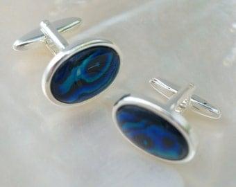 Paua Shell Cufflinks, Blue Abalone, Natural Gemstone Cufflinks, Silver Cuff Links, Blue Paua Shell, Groom Cufflinks, Fathers Day