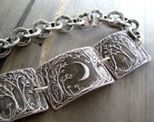 On Sale, Forest Moon Bracelet No. 2, Fine Silver Jewelry, Handmade in Recycled Silver From Original Carving, by SilverWishes
