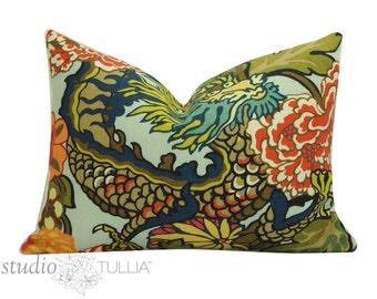 Chiang Mai Dragon -  14 x 20 - Decorative pillow Cover - Lantern - Schumacher pillow  - Chiang Mai Aqua - made to order