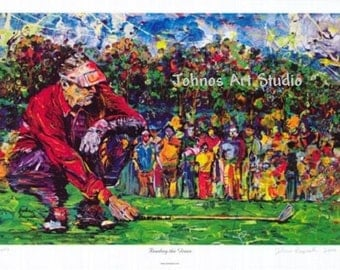 Golfer Art, Reading the Green, Limited Edition Print by Pittsburgh artist