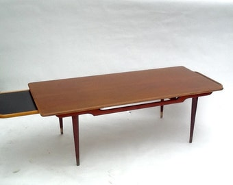 Danish Modern Coffee / Teak and Rosewood extending Table