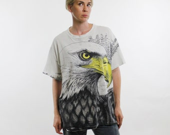 Vintage 90's t-shirt, all over eagle print, dingy / grungy / distressed, cotton - Large / XL
