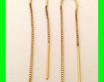 14k yellow gold filled threader Earring ear wire box chain earwires U turn Arch shape  GE88
